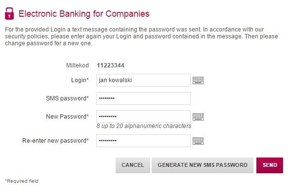First login - Corporate - Bank Millennium